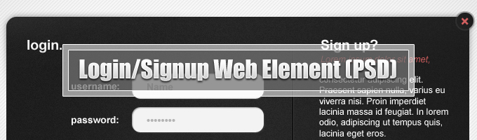 Login/Signup Web Element Free PSD