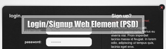 Login/Signup Web Element Free PSD