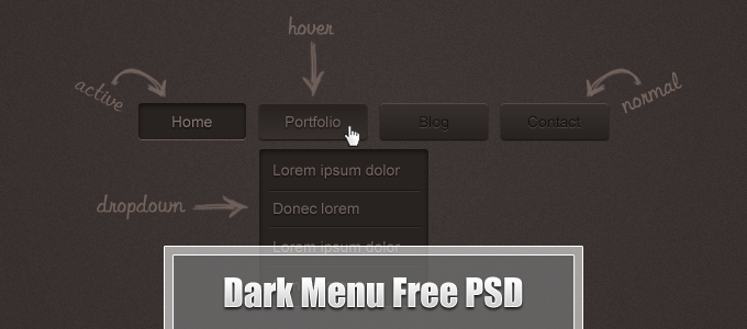 Dark Menu Free PSD by Ahmad Hania