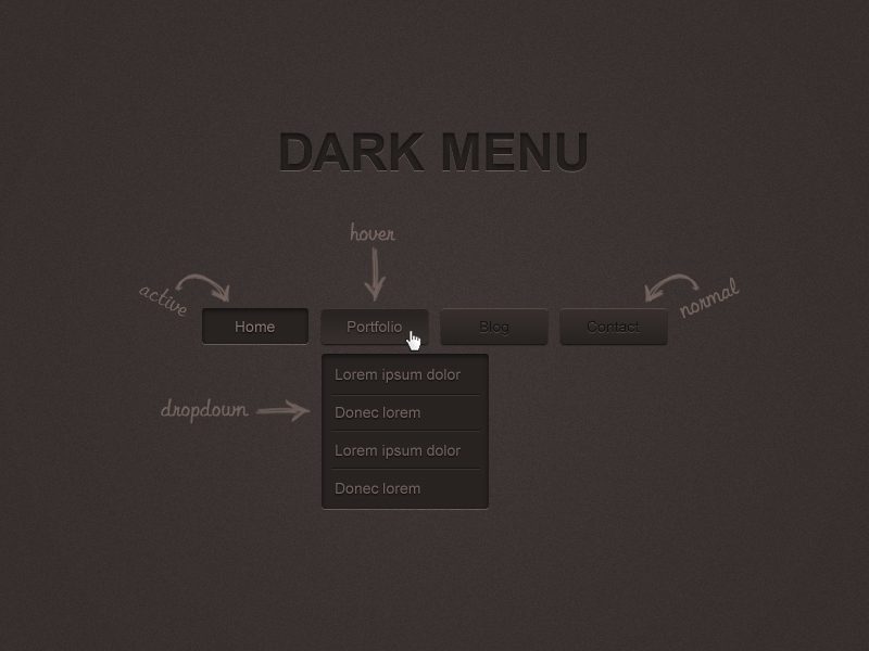 Dark Menu Free PSD Full Preview