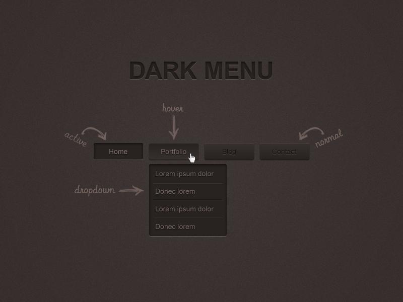 Dark Menu Free PSD Full Preview