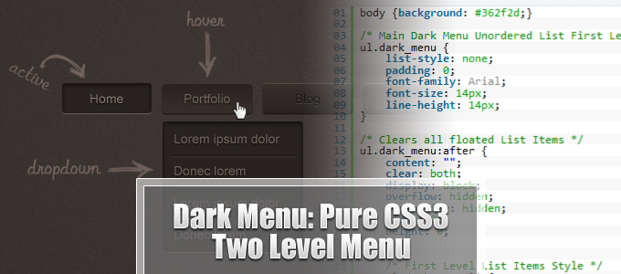 Dark Menu: Pure CSS3 Two Level Menu [Tutorial]