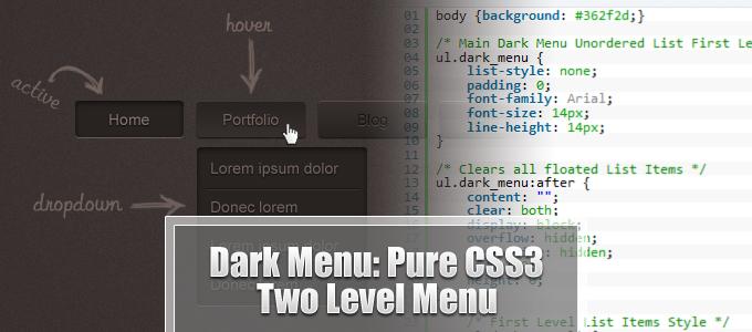 Dark Menu: Pure CSS3 Two Level Menu [Tutorial]